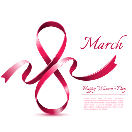 March 8 template. International womans day greeting card Illustration