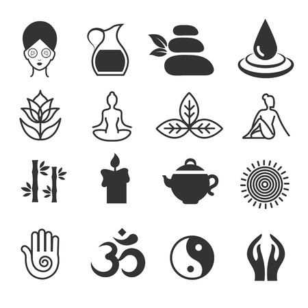 health spa: Relax icons vector. Yoga health and spa symbols, zen skin care Illustration