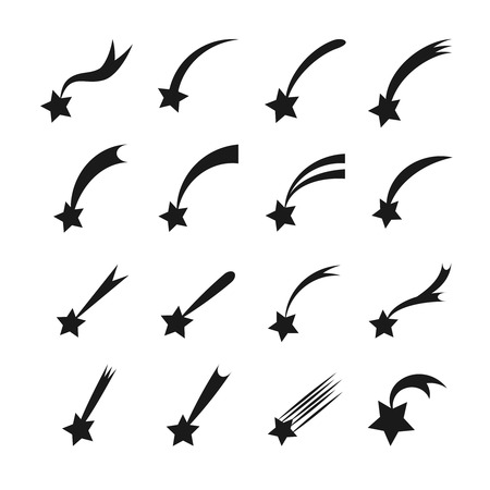 Shooting stars icons. Vector falling star silhouettes or comets isolated on white background Illustration