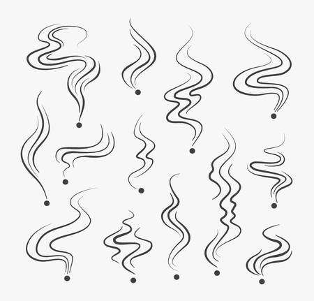 vapor trail: Smoking fumes line icons. Vector smoke smell spiral scent  signs