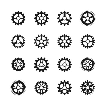 Gears icons. Vector clock gear set and transmission cogwheels isolated on white background