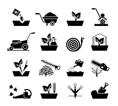 gardening hose: Gardening and flowers icons. Hosepipe lawnmower, wheelbarrow shovel tools vector signs