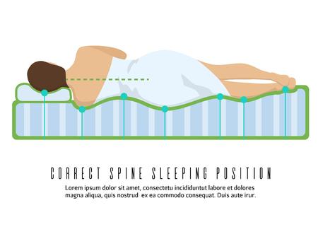 durmiendo: ilustración vectorial colchón ortopédico ergonómico. posición para dormir columna correcta Vectores