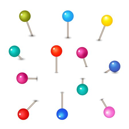 Vector pushpins isolated on white background. Push pins for map