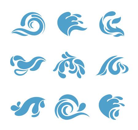 Zusammenfassung Cartoon splash gesetzt. Vector blauen Wasser Wellen auf weißem Hintergrund für Logo oder andere Geschäftsidentität