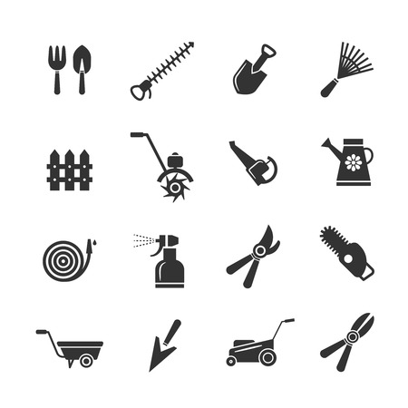 handcart: Gardening tools and farming equipment icons. Pruning hilling, irrigation fertilization