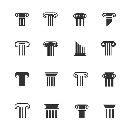 ancient roman: Ancient greek and roman column icons. Architectural pillar vector black white signs Stock Photo