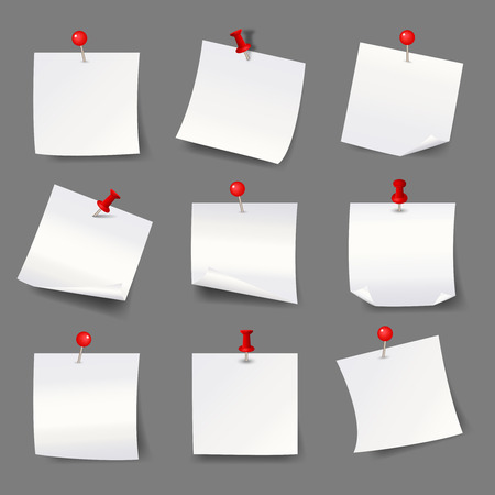 blank note: White note papers with thumbtacks. Blank paper notices  red push pins vector illustration