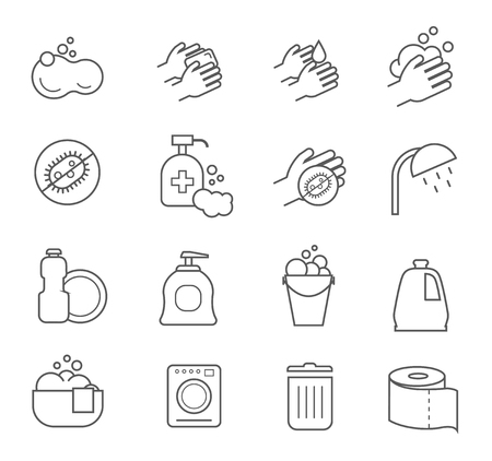 clean bathroom: Hygiene line icons. Cleaning and clean silhouette signs for bathroom toilet.