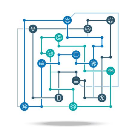 illustration industry: Technology connected network concept illustration. Technological industry integration scheme. Illustration