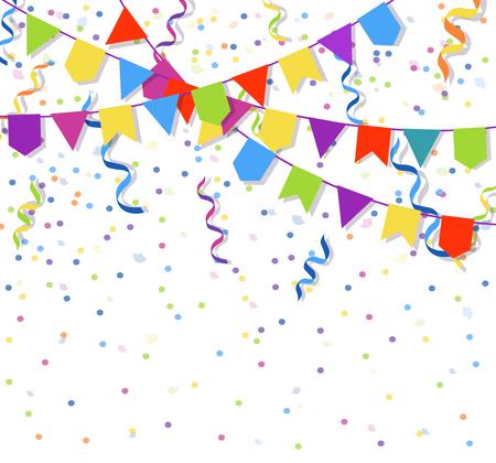 Guirnaldas de banderas festivas y explosión de confeti de papel ilustración vectorial de confeti Ilustración de vector