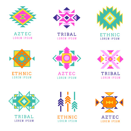 ethnicity: Aztec or apache motif style logo set. Native mexican labels isolated on white background