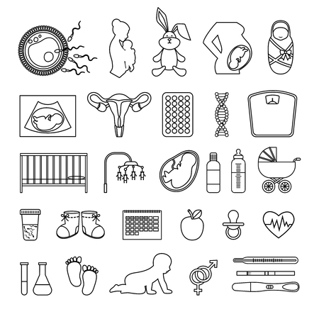pregnancy woman: Pregnant woman and pregnancy line icons. Outline body birth baby, newborn scale signs