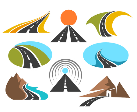 driveway: Vector road colored emblems isolated on white background for logo design. Transport highway or pathway symbols