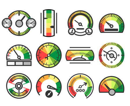 Measuring guage device vector icons. Measurement and measure, level indicator meter signs Stock Photo