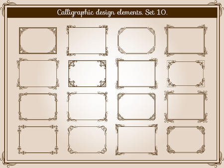Vector decoration vintage flourish frames with elegant swirl and scroll corner elements Zdjęcie Seryjne