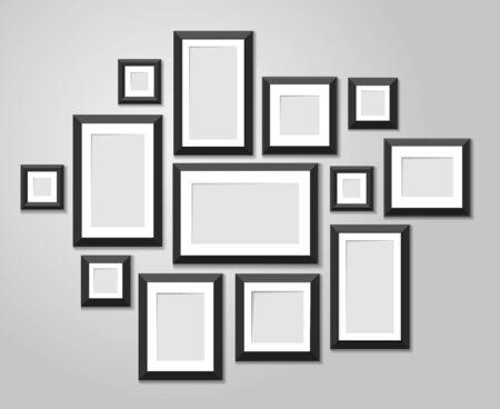 Muur afbeeldingsjablonen geïsoleerd op een witte achtergrond. Lege fotolijsten met schaduw en grenzen vectorillustratie