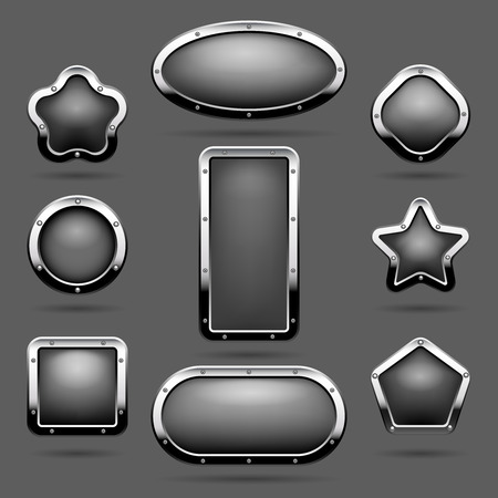 chrome metal: Chrome frames or metal panel buttons vector illustration Stock Photo