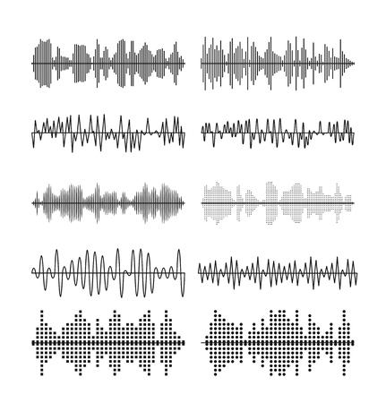 amplitude: Sound wave forms vector illustration. Soundtrack audio music amplitude waveforms equalizer