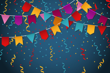 blue party: Blue flag garland party celebration background for feast banner vector illustration