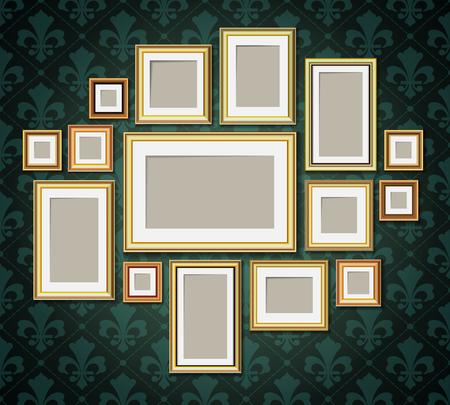 antique frames: Antique vintage wooden photo frames collection. Retro portrait picture borders