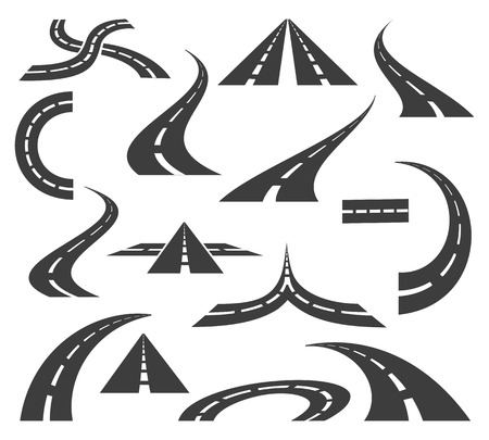 driveway: Vector road icons. Highways and roads signs for trip journey maps motion isolated on white background