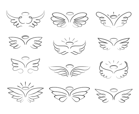 Vector sketch angel wings in cartoon style isolated on white background Vettoriali
