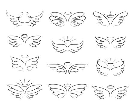 Vector schets engelenvleugels in cartoonstijl geïsoleerd op een witte achtergrond