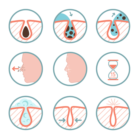 Facial treatments icons. Treatment of skin diseases, sebum removal and pores cleaning vector illustration