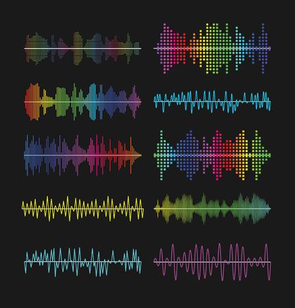 色とりどりのグラフィックイコライザー波サウンド トラック波形ベクトル イラストです。音楽ボリューム波増幅器記号