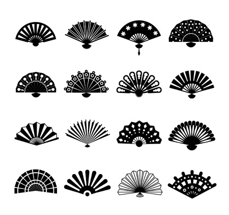 open fan: Hand paper fan vector icons. Chinese or japanese beautiful fans isolated on white background