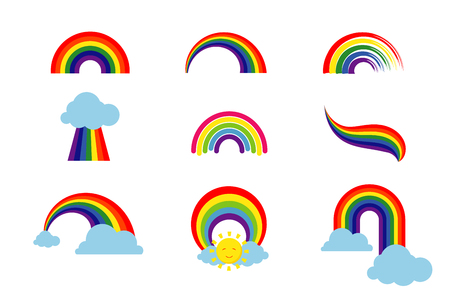 Rainbow set isolated on white background. Multicolored stripes light arch icons vector illustration Ilustracja