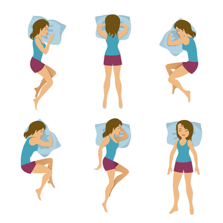 Women sleeping positions vector illustration. Woman sleep poses in bed