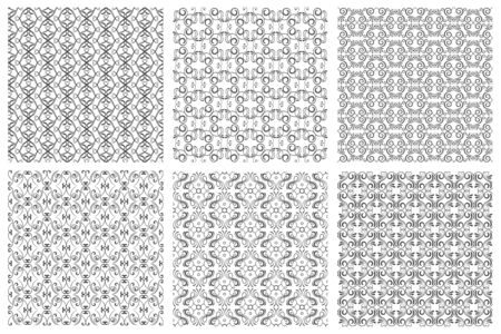 classic classical: Seamless floral patterns in victorian antique elegant style on white background Illustration