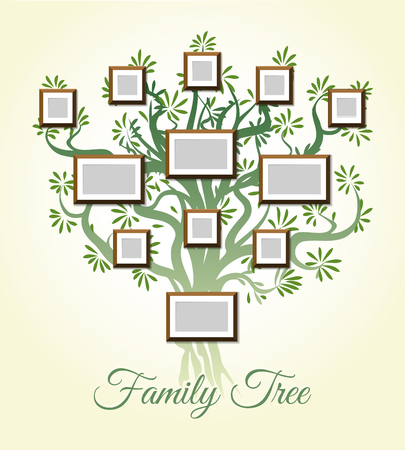 dynasty: Family tree with photo frames vector illustration. Parents and children pictures, dynasty of generations