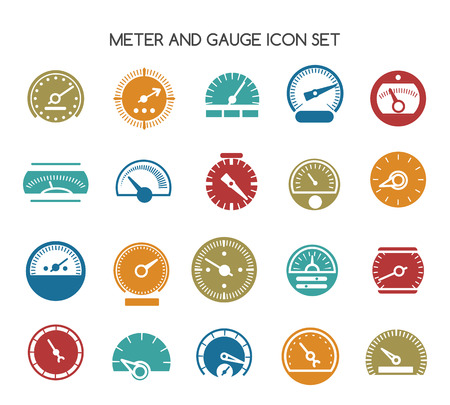 Speed gauge icons. Vector circular barometer or meter sign