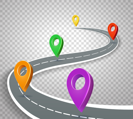 Business roadmap 3d pointers on transparent background. Abstract road with pins vector illustration 스톡 콘텐츠