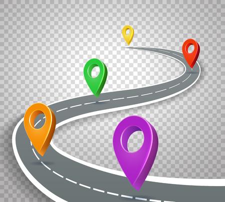 Mapa de ruta de negocios 3d punteros sobre fondo transparente. Resumen camino con pines ilustración vectorial
