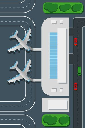 aerodrome: Airport top view vector illustration. Landing pad and airplanes