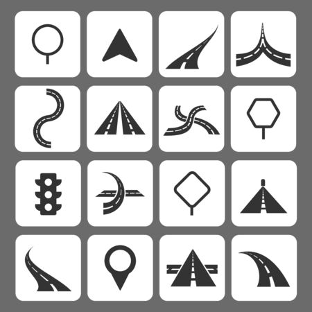 navigation icons: Road movement signs and traffic navigation icons