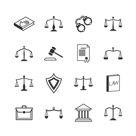 judicial system: Law and justice icons. Judicial system verdict, attorney legislation signs