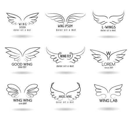 wings bird: Hand drawn wings   set. Vector doodle winged icons Stock Photo