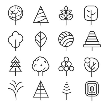 plants and trees: Simple contour lines trees. Vector nature plants and  thin line icons isolated on white background