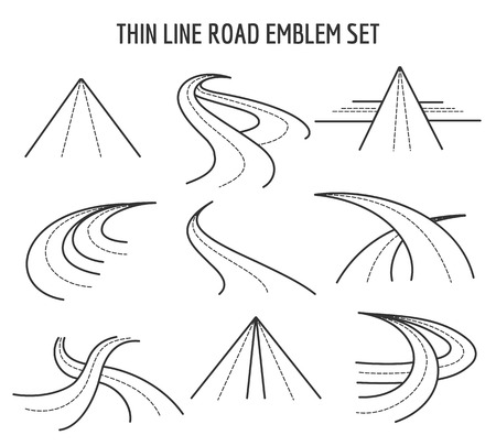 winding roads: Thin line road and highway icons. Linear traffic route signs on white background