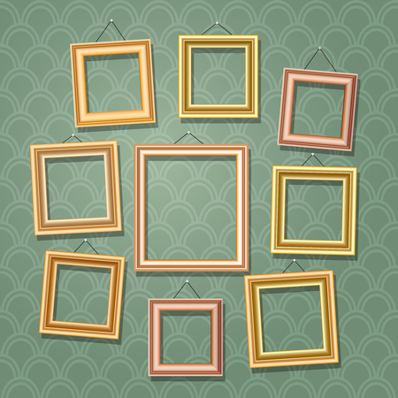 empty frame: Empty cartoon photo frames on green wall. Retro wooden picture frame set vector illustration Illustration