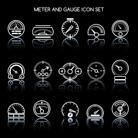 Meter and gauge icon set for control panel. Vector car speedometers signs