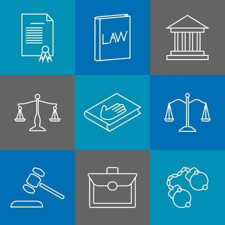 legal law: Law and justice thin line icons. Juridical  legal linear signs