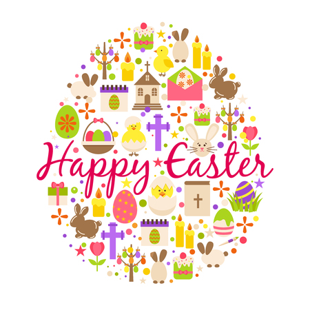 Happy easter greeting card cartoon decoration element egg shaped with text, spring flowers and cupcake isolated on white background