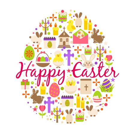Tarjeta de felicitación feliz Pascua huevo de elemento de decoración de dibujos animados en forma de texto, flores de primavera y Magdalena aislado sobre fondo blanco Ilustración de vector