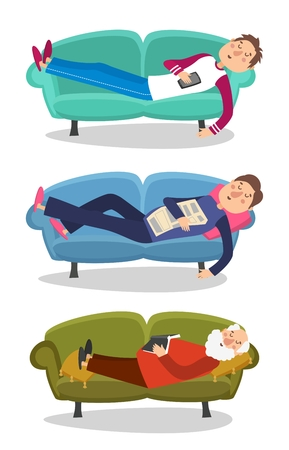 old person: Man sleep on sofa vector illustration. Sleeping young and old men  couch character person Illustration